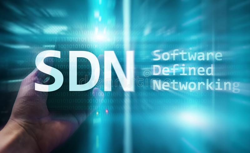 SDN, Software defined networking concept on modern server room background.  stock photo