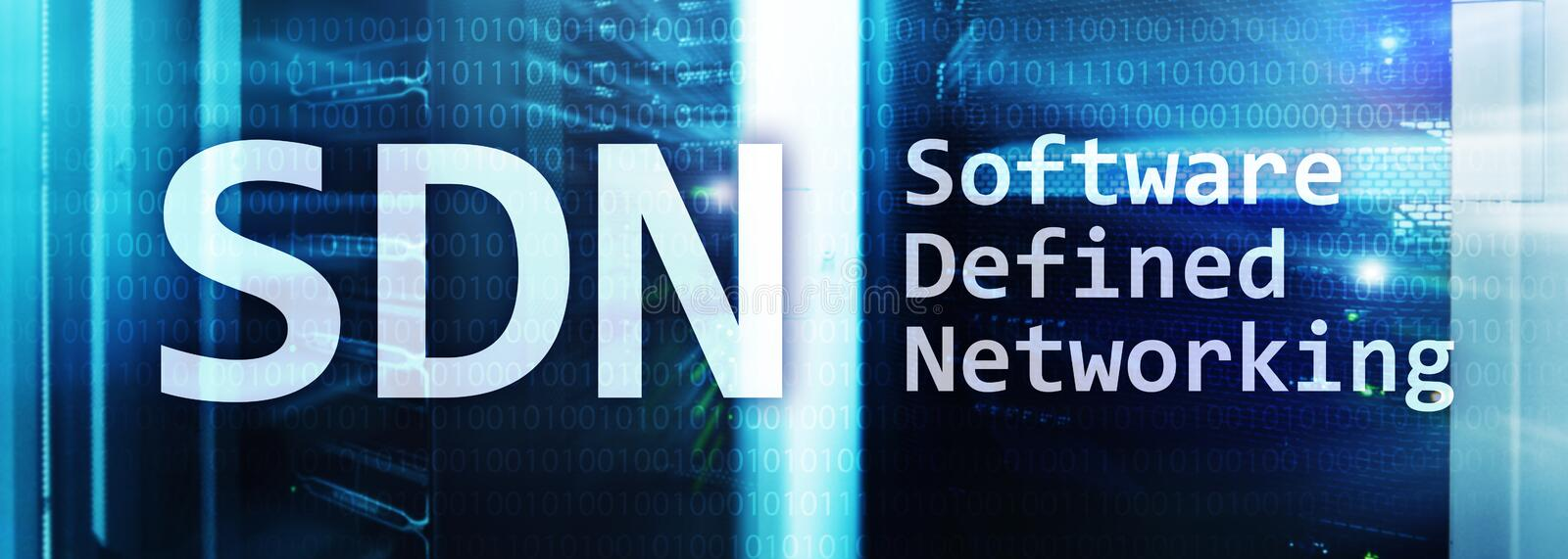 SDN, Software defined networking concept on modern server room background.  royalty free illustration