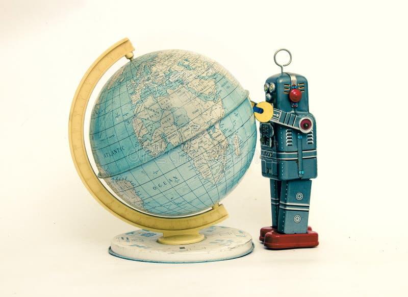 Sdudys retros del robot el mundo aislado en blanco imágenes de archivo libres de regalías