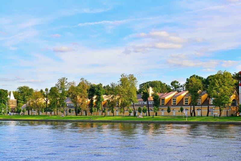 SDYUSSHOR Comprehensive high school sports on the river Neva on. Kamennoostrovsky Prospekt, 68 stock photo