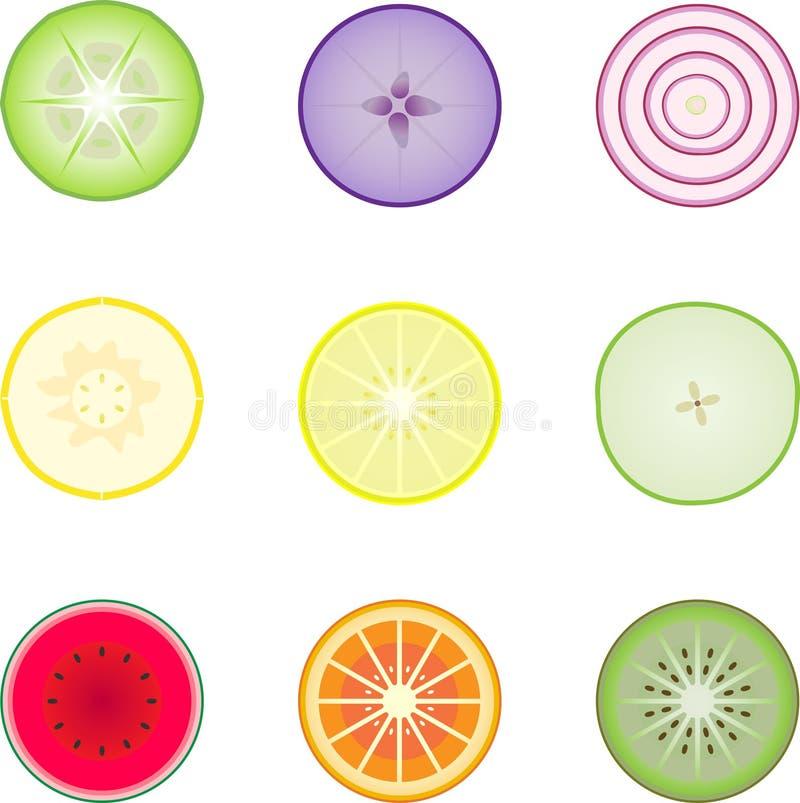 Seção da fruta e verdura para dentro ilustração do vetor
