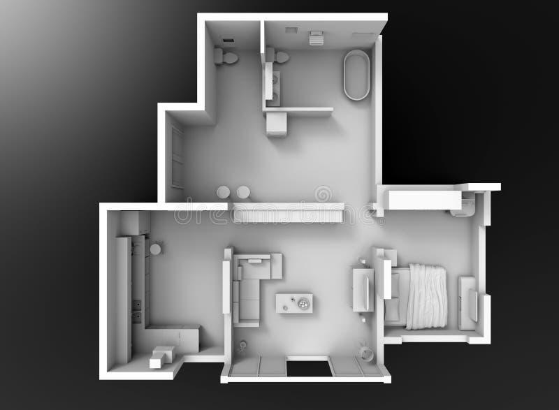 seção da planta baixa 3D ilustração stock