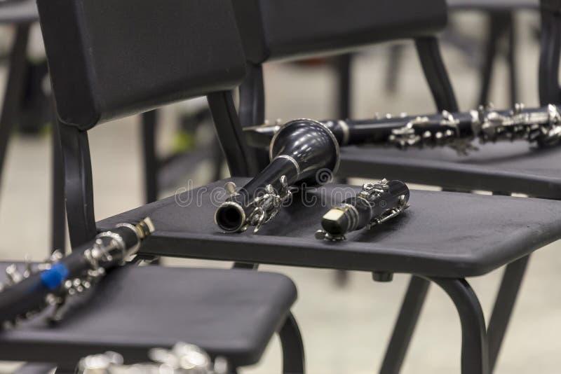 Seção da plataforma do clarinete do arranjo do concerto imagens de stock