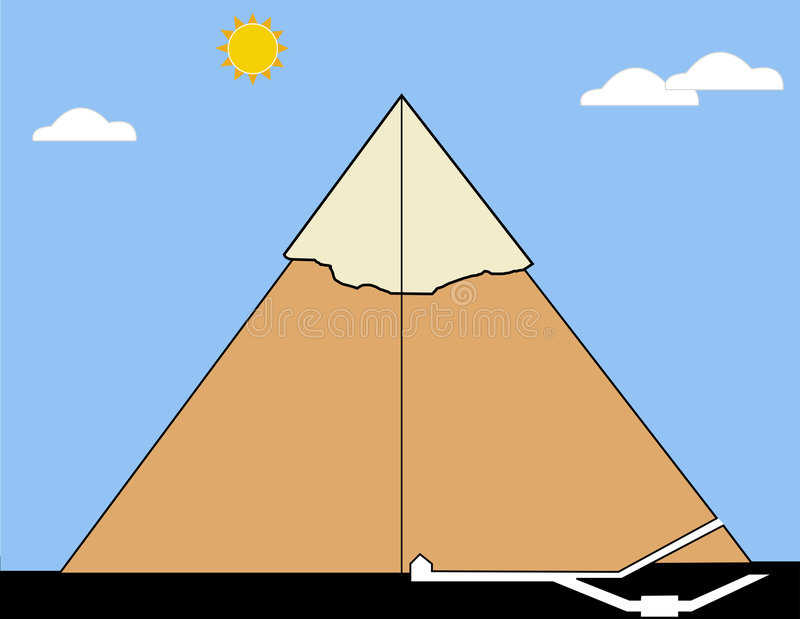 Seção de uma pirâmide real ilustração royalty free
