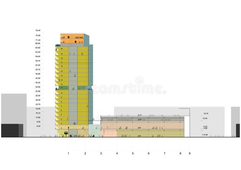 Seção do arranha-céus ilustração stock