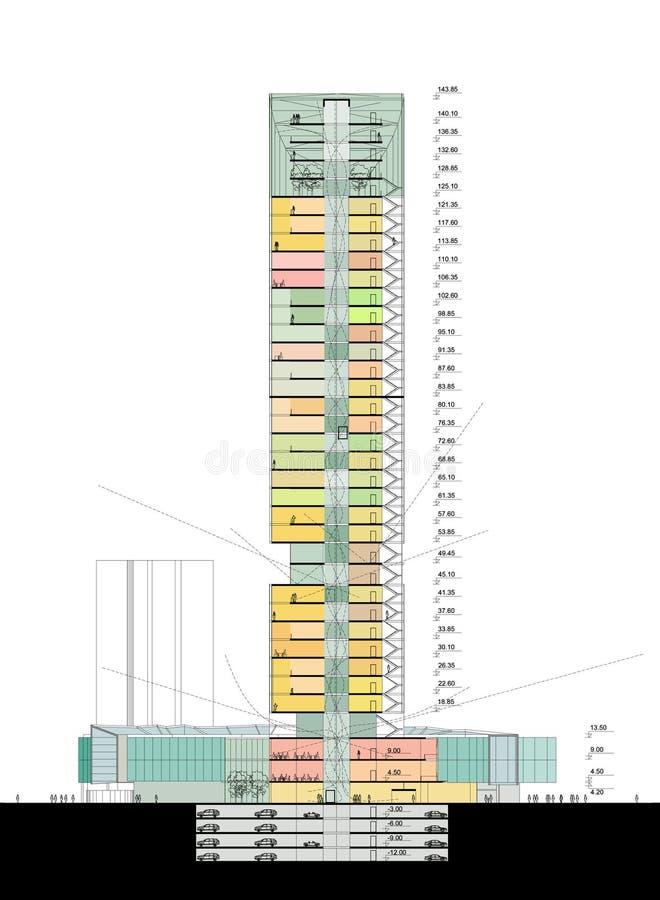 Seção do arranha-céus ilustração do vetor