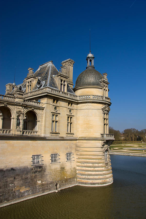 Seção do castelo de Chantilly, France fotografia de stock