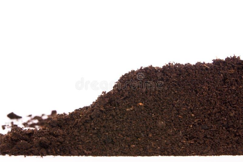 Seção do solo ou da sujeira isolada no fundo branco fotos de stock