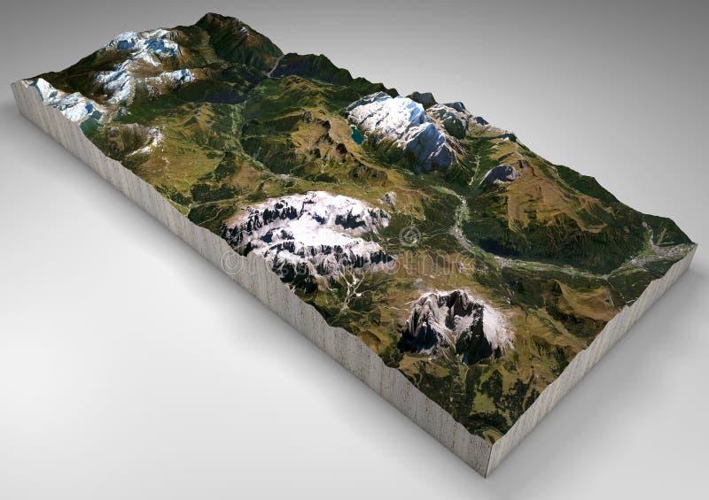 Seção do terreno, Canazei, Val di Fassa, Trentino Alto Adige, Itália Montanhas e montes, picos das dolomites, Sassolungo ilustração royalty free