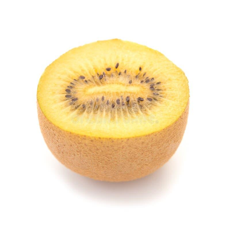 Seção fresca dourada do fruto de quivi no fundo branco foto de stock royalty free