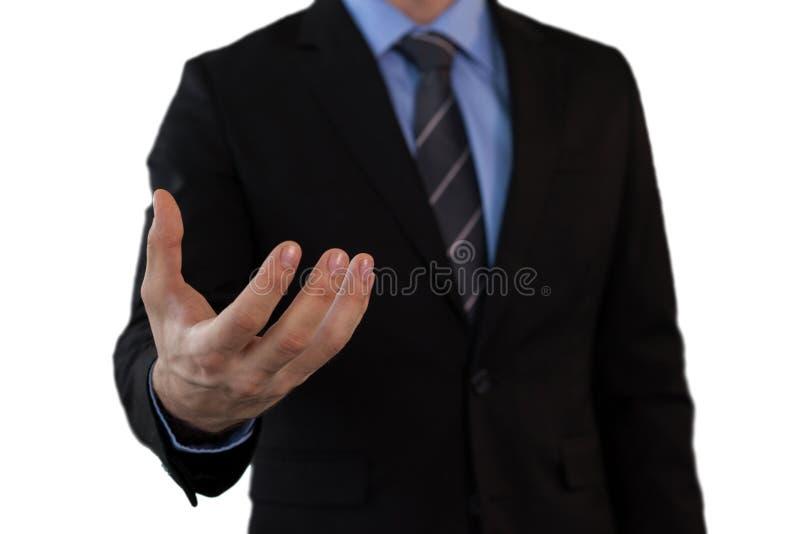 Seção meados de do homem de negócios em gesticular do terno foto de stock royalty free