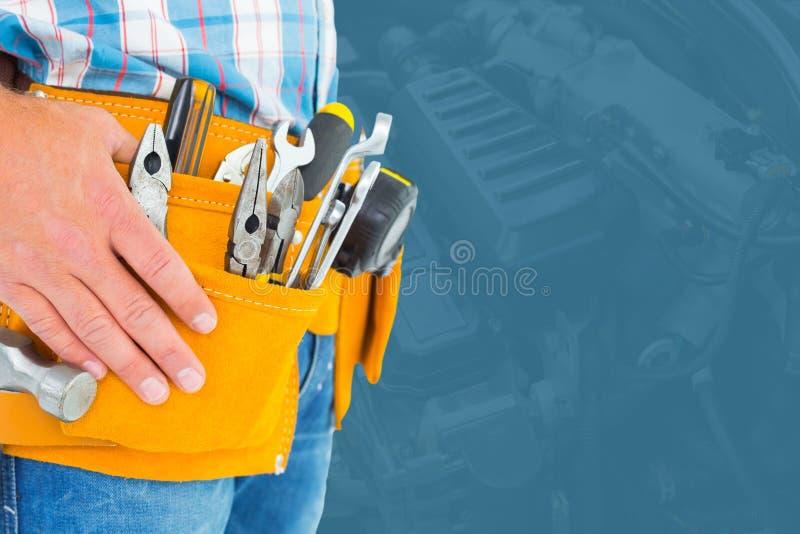 Seção mestra do trabalhador manual com ferramentas imagens de stock royalty free