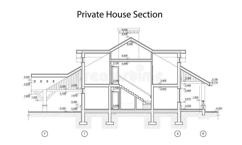 Seção privada da casa, desenho técnico arquitetónico detalhado, modelo do vetor ilustração royalty free