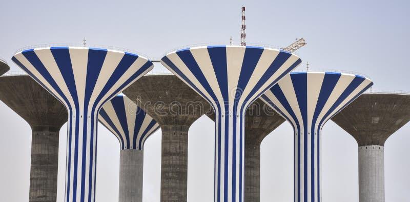Seção superior de torres de água sob a construção imagens de stock royalty free
