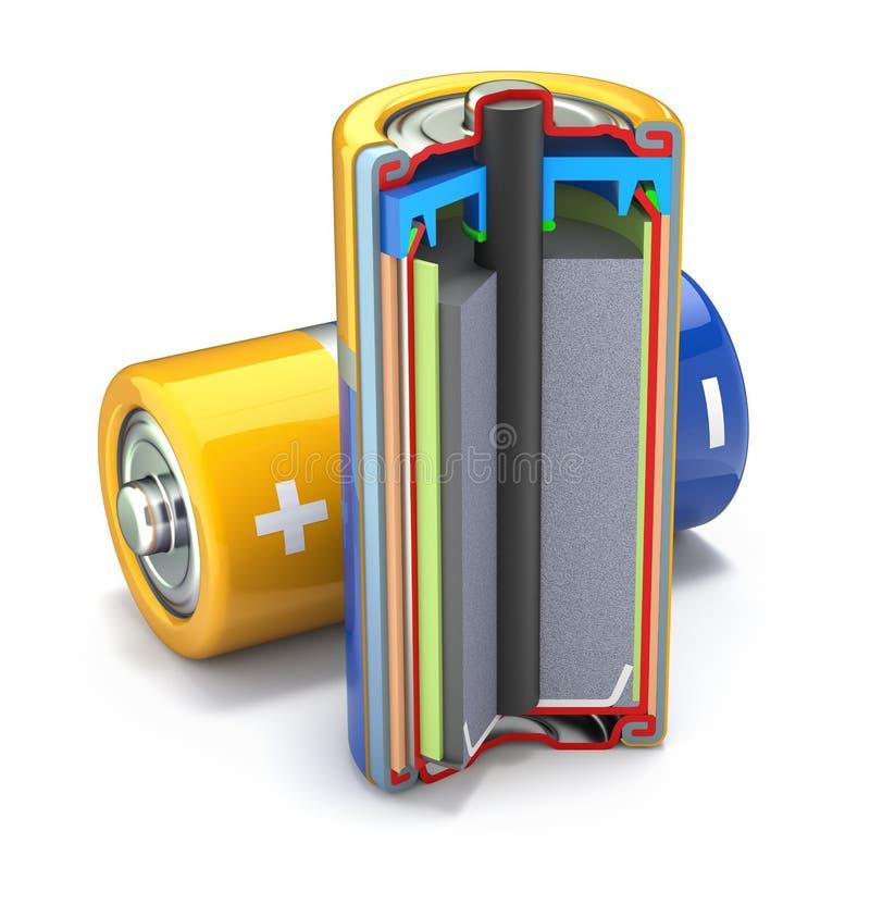 Seção transversal da bateria da pilha seca ilustração royalty free