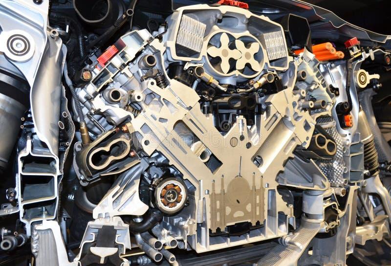 Seção transversal de um motor do carro imagens de stock