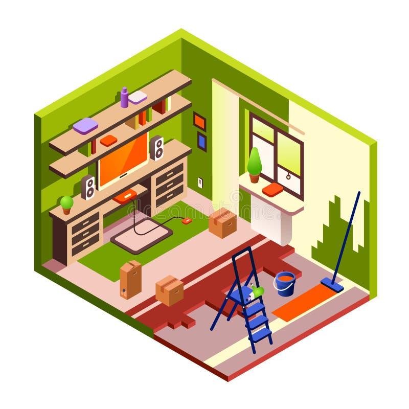 Seção transversal isométrico da ilustração do vetor da renovação da sala ilustração stock