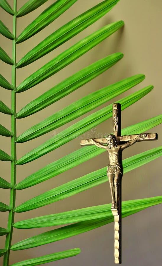Seção verde vibrante do ramo da palma atrás do crucifixo de prata imagem de stock