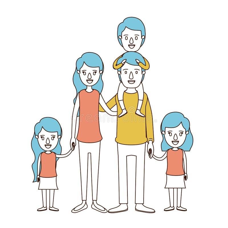 Seções da cor da caricatura e cabelo azul de pais grandes da família com o menino no seu para trás e nos daugthers tomados as mão ilustração stock