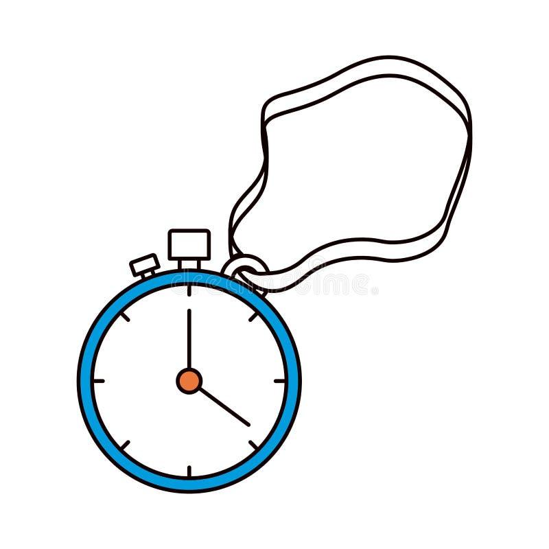 Seções da cor da silhueta do cronômetro com temporizador e cabo ilustração stock