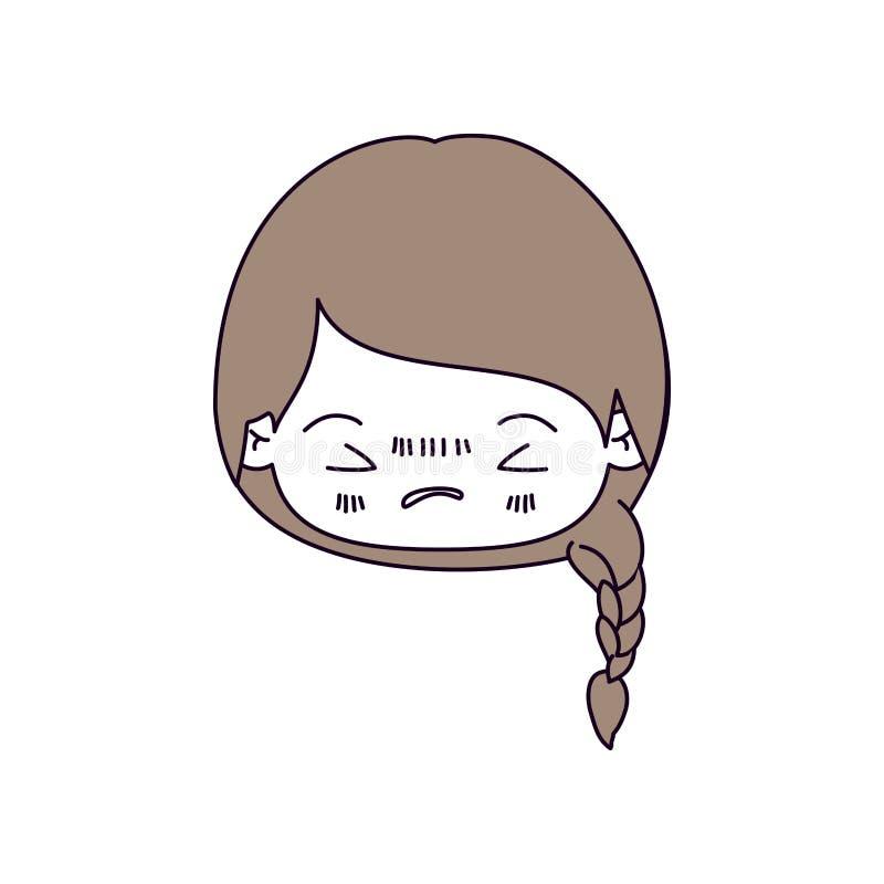 Seções da cor da silhueta e claro - cabelo marrom da menina principal do kawaii com cabelo trançado e a expressão facial irritado ilustração royalty free