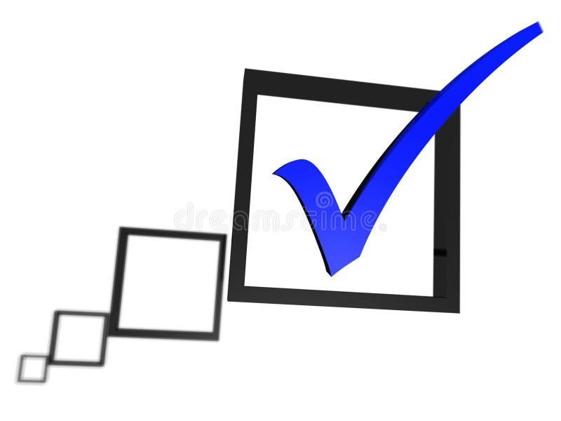 Señal azul en una lista del rectángulo de verificación ilustración del vector