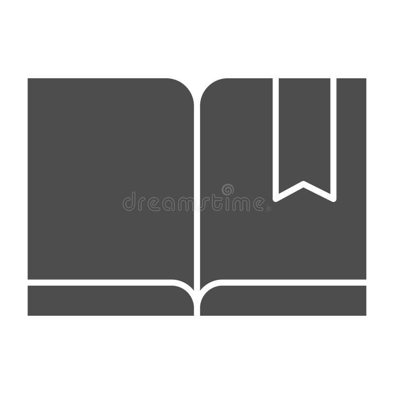 Señal con el icono sólido del libro Ejemplo leído del vector aislado en blanco Diseño del estilo del glyph del conocimiento, dise ilustración del vector