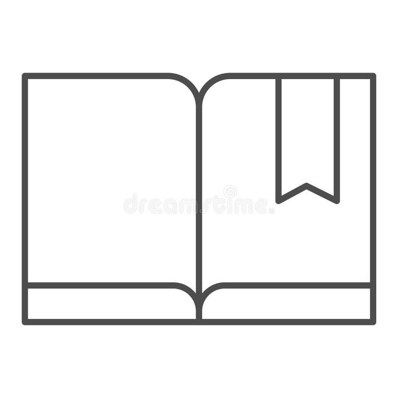 Señal con la línea fina icono del libro Ejemplo leído del vector aislado en blanco Diseño del estilo del esquema del conocimiento stock de ilustración