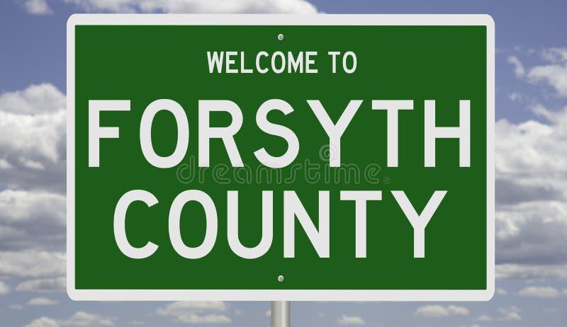 Señal de carretera para el condado de Forsyth fotos de archivo