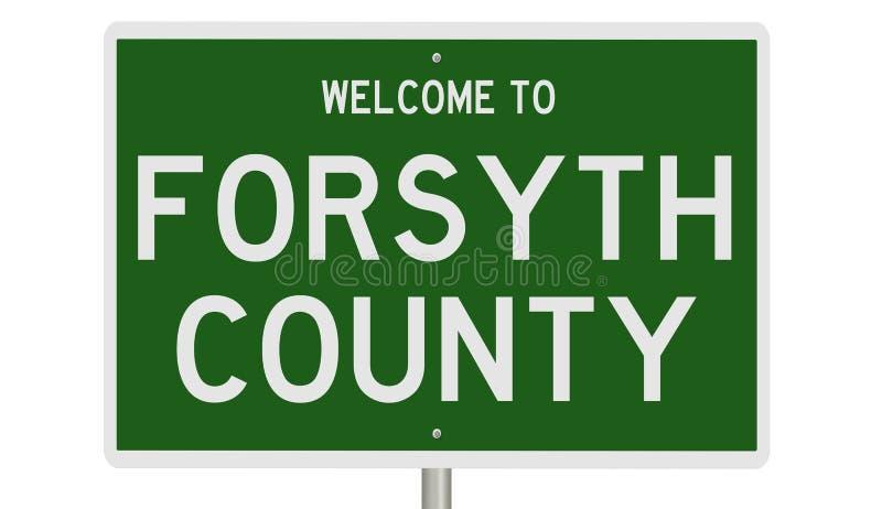 Señal de carretera para el condado de Forsyth imagenes de archivo