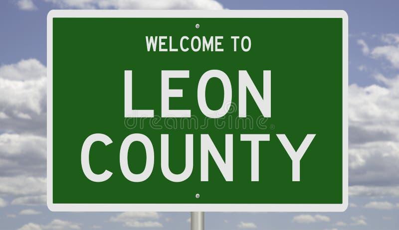 Señal de carretera para el condado de Leon foto de archivo