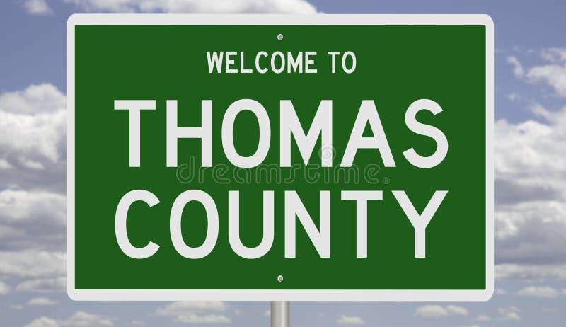 Señal de carretera para el condado de Thomas imagen de archivo libre de regalías