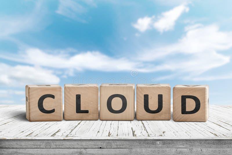 Señal de cloud computing en una mesa con nubes blancas imagen de archivo libre de regalías