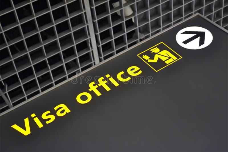 Señal de dirección de la oficina de la visa, diversidad del viaje, fotos de archivo