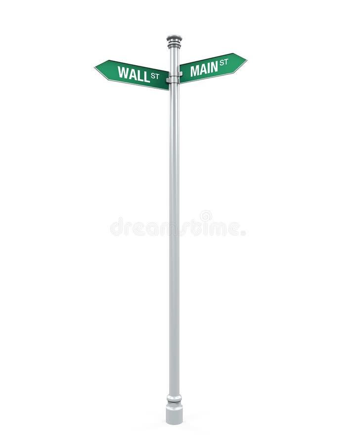 Señal de dirección de Main Street y de Wall Street ilustración del vector