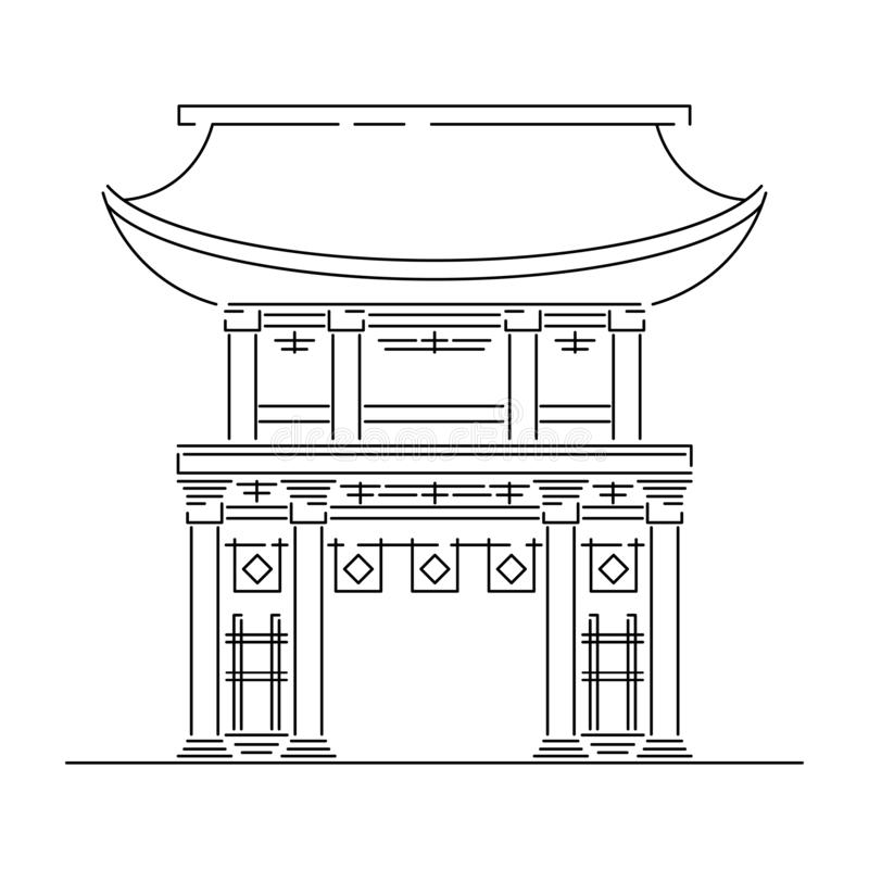 Señal de Japón - el templo, capilla, castillo, pagoda, ejemplo del vector de la puerta simplificó el icono del viaje Chino, asiát stock de ilustración