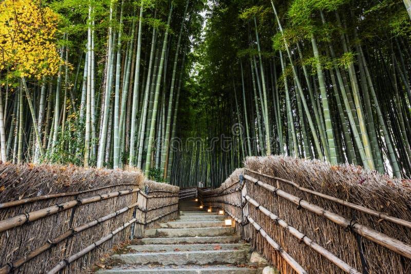 Señal de la arboleda de Bambo en Arashiyama foto de archivo
