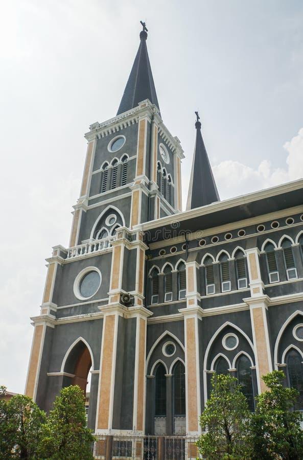 Señal de la iglesia del vintage en Chantaburi Tailandia fotos de archivo