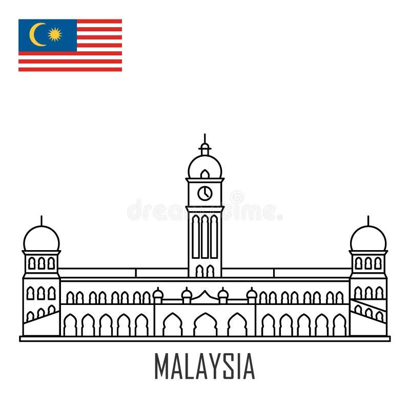 Señal de Malasia Palacio de Abdul Samad del sultán ilustración del vector