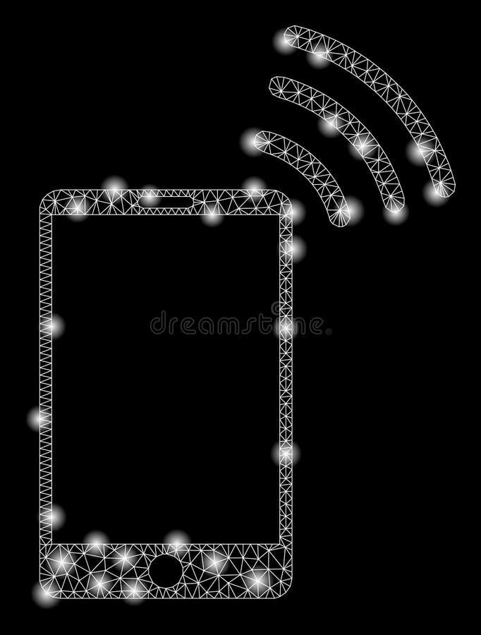Señal de Mesh Wire Frame Mobile Wi-Fi de la llamarada con los puntos de la llamarada stock de ilustración