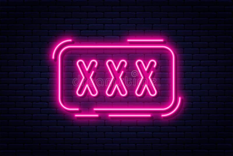 Señal de neón, adultos solamente, 18 más, sexo y xxx Contenido restricto, bandera video erótica del concepto, cartelera o letrero libre illustration