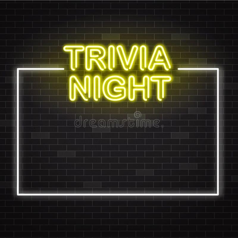 Señal de neón amarilla de la noche de las curiosidades en el marco blanco en fondo oscuro de la pared de ladrillo con el espacio  stock de ilustración