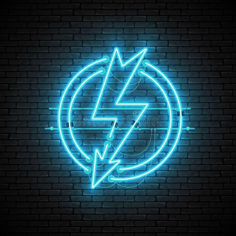 Señal de neón azul brillante y que brilla intensamente del relámpago en círculo en la pared de ladrillo ilustración del vector