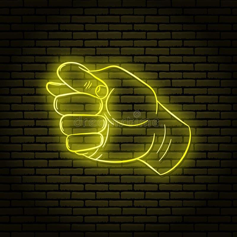 Señal de neón con un resplandor amarillo Gesto de mano, codicioso stock de ilustración