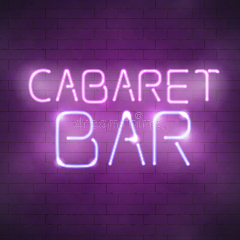 Señal de neón de la barra del cabaret en la pared de ladrillo libre illustration