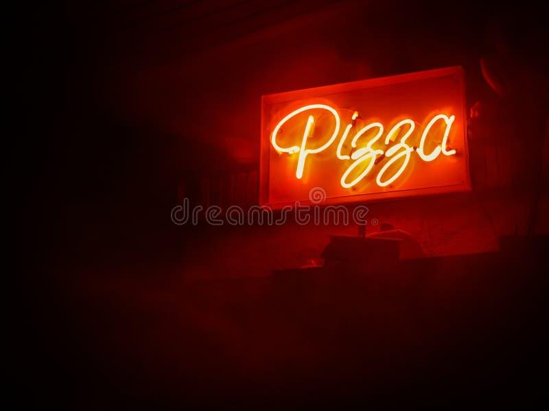 Señal de neón de la pizza stock de ilustración