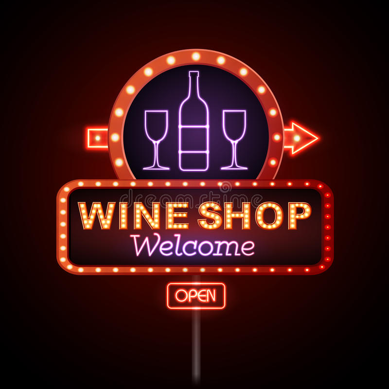 Señal de neón de la tienda de vino libre illustration