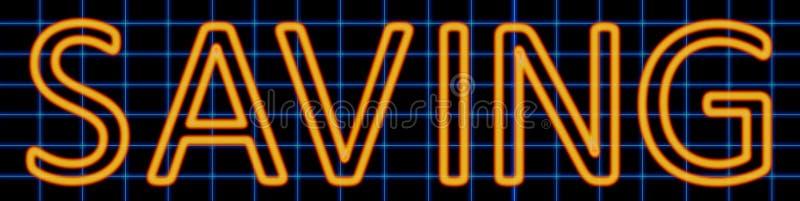 Señal de neón del ahorro ilustración del vector