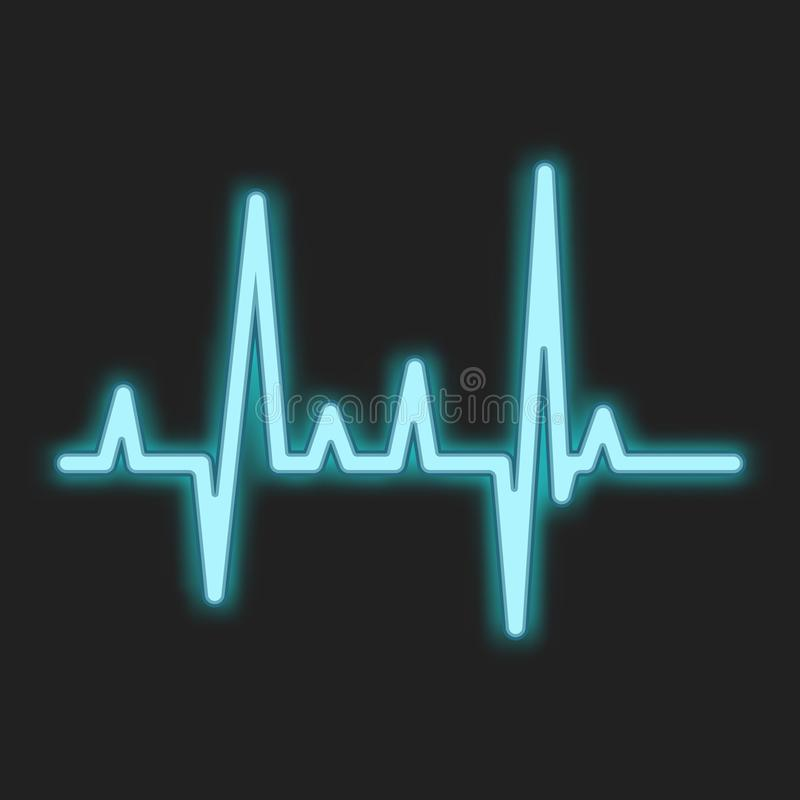 Señal de neón del azul del latido del corazón ilustración del vector
