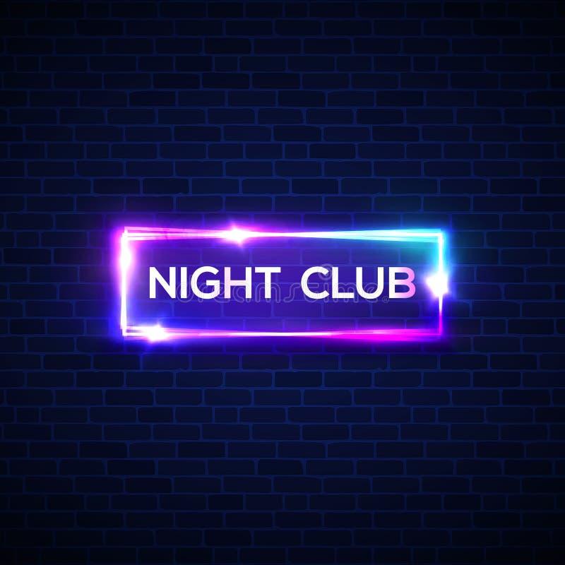 Señal de neón del club de noche en la pared de ladrillo señalización 3d ilustración del vector